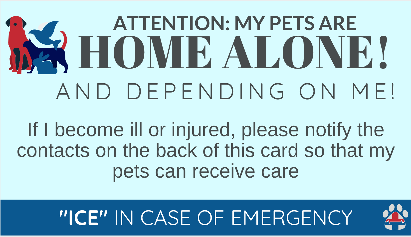 pet emergency contact card